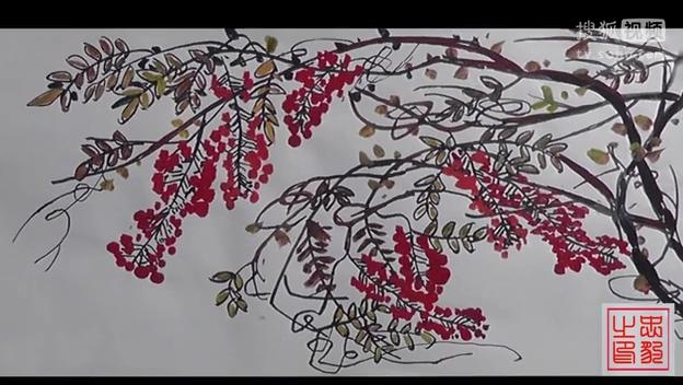 中国画花鸟画技法 南忠豹写意紫藤网络展示